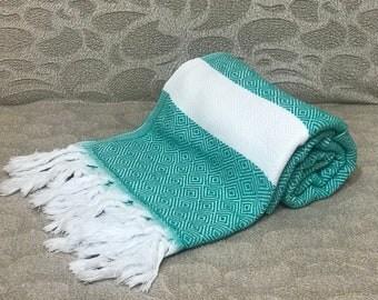 """66"""" x 36""""  Ocean Green Cotton Bath & Beach Towel"""