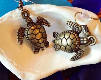 Bronze Sea Turtle Earrings