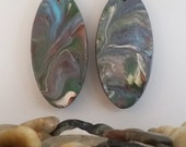Handpainted Gray Swirl Wooden Oval Earrings-Large Wood and Sterling Earrings-Unique Gift for Her-One of a kind Pair of Earrings