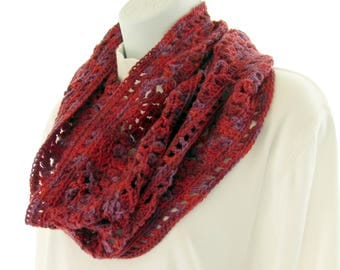 "Hand Crocheted Cowl, ""Crimson"" 50 per cent Wool 50 per cent acrylic"