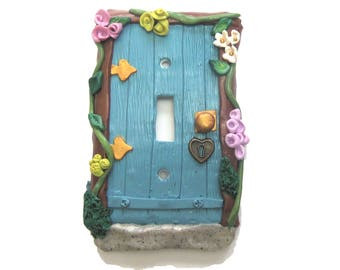 Blue Fairy Door Switch Plate Cover - Blue Flower Light Switch Cover - Polymer Clay Switchplate Cover - Girls Room
