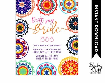 Fiesta Don't Say Bride / Mexican Don't Say Bride / Fiesta Bridal Shower Games / Fiesta Couples Shower Engagement / DIY Printable FT01