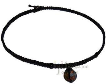 Silver/Gold Leaf Glass Pendant Hemp Surfer Choker Necklace