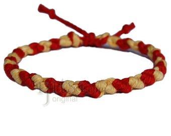Dijon and red hemp Dots bracelet or anklet