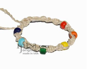 Natural twisted hemp bracelet or anklet with rainbow glass beads