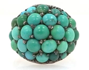 Victorian 10k Gold Cluster Turquoise Ring