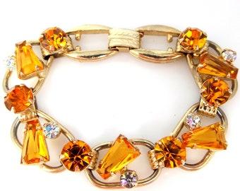 Juliana D & E Topaz Glass Keystone 5 Link Bracelet
