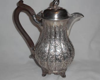 Repousse Hand Chased Silver Plate Teapot Coffee Pot Antique Footed Base Horn Mark