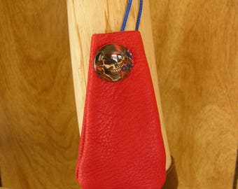 "Red leather drawstring pouch with Rebel charm, adjustable drawstring neckcord, 3"" x 1 1/2"", talisman bag"