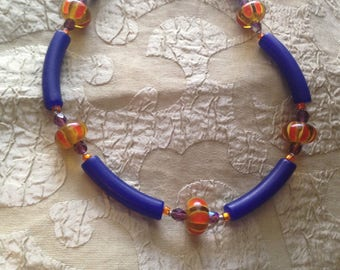 Blue Orange Vintage Lucite & Lampwork Glass Necklace Toggle Clasp Handmade 20.5 Inches