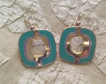 Laurel Burch Mod Os Cloisonne Earrings French Earwires Vintage Jewelry 1980s Teal Green Gold