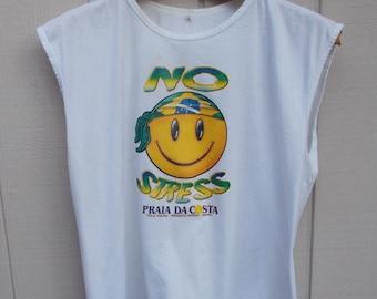 Vintage 80s Brasil No Stress Happy Face Souvenir Tee Shirt from Espirito Santo / Praia Da Costa - Vila Vehla Brazil / Sz Lge - XL
