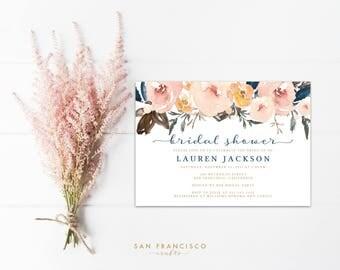 Bridal Shower Invitation INSTANT DOWNLOAD | Editable Bridal Shower Invite Template | watercolor, blue, peach, pink | Lauren Collection | PDF