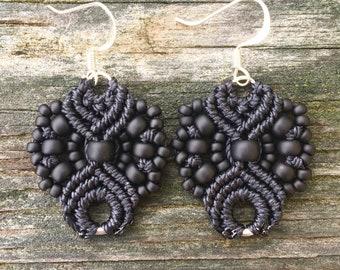 Micro-Macrame Earrings - Matte Black