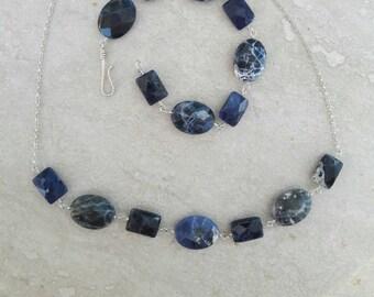 Chunky navy-blue sodalite sterling silver bracelet and necklace set