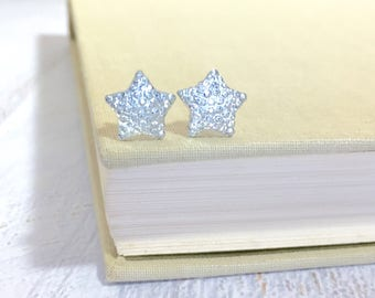 Small Sparkling Bumpy Druzy White Clear Celestial Star Stud Earrings with Surgical Steel Posts
