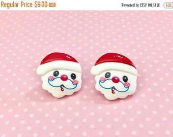 Christmas in July SALE. Adorable Whistling Santa Claus Stud Earrings for Christmas Holiday, Surgical Steel Posts