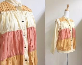 s a l e • vintage crinkle jacket coat beige coral s/m