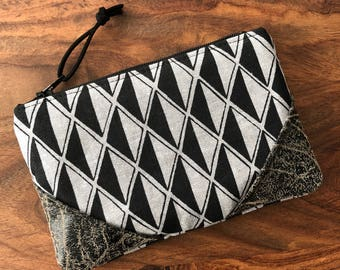 Small Zip Pouch - Steel Gray Diamond