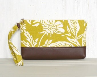 Zipper Wristlet Clutch, Cell Phone Wristlet, Wrist Pouch, Clutch Purse - Wildflower Field in Cream, Chartreuse and Brown