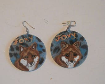 Red Fox  Hand Painted Dangle Earrings Jewelry Blue