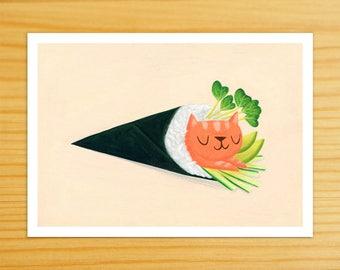 Salmon Handroll Cat 5x7 Print