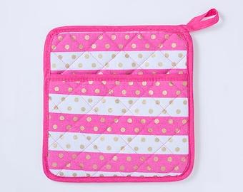 Pink Stripes Gold Dots Pot Holder