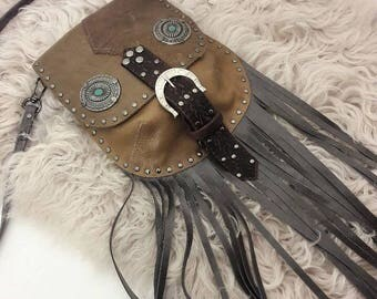 Olive Leather Convertible Crossbody/Waist Bag with Fringe and Turquoise