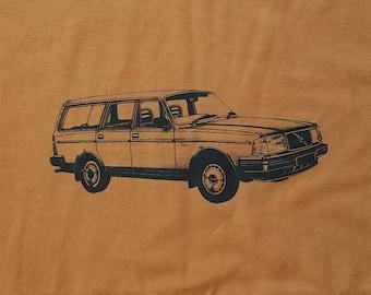 Volvo 240 Wagon Tee Shirt Rust