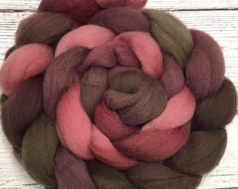 Handpainted Falkland Wool Roving - 4 oz. PAPER ROSES - Spinning Fiber