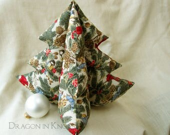 """Bird Lovers Christmas Tree - cardinals, swallows, holly leaves, pinecones, pine branches - 12"""" cream holiday fabric tree, soft centerpiece"""