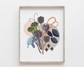Nature Print, Botanical Print, Floral Print, Scandinavian Print, Modern Botanical, Flower Art, Nature Art, Minimalist, Gray Art
