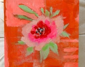 Single pink tone rose floral painting