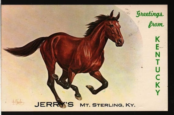 Greetings from Kentucky – Jerry's – Mt. Sterling, Kentucky – Vintage Souvenir Postcard