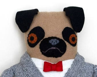 Boy Pug in a Suit Bowtie doll plush softie Wool