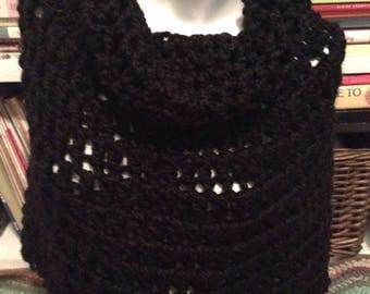 Black Chunky Crochet Bennington Capelet Cowl Poncho