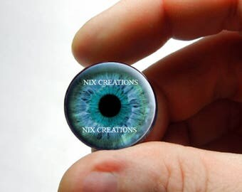Glass Eyes - Light Green Blue Human Doll Taxidermy Eyes Handmade Glass Cabochons for Steampunk - Pair or Single - You Choose Size