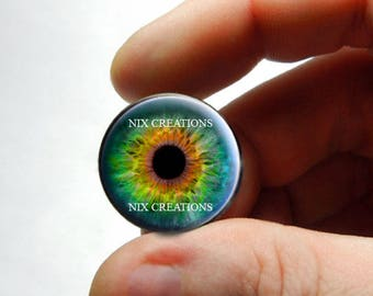 Glass Eyes - Realistic Zombie Human Doll Taxidermy Eyes Handmade Glass Cabochons for Steampunk - Pair or Single - You Choose Size