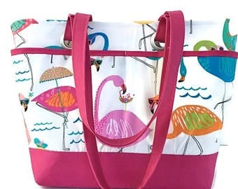 Large Pink Flamingo Beach bag, Waterproof lined beach bag, Oversized tote bag, Beach vacation bag, Pool tote bag, Cruise bag, Large tote bag