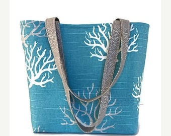 SALE Large tote bag, Handbag, handbags and purses, Totes, Blue, coral, ocean blue, tote bag with pockets, shoulder bag,