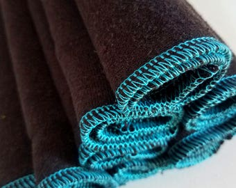 "12 Hemp cloths reusable wipes organic washcloth sensitive skin 8"" black"