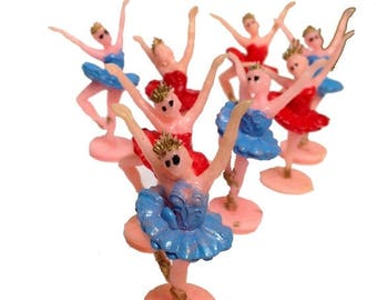 SALE 8pcs ZOMBIE BALLERINA Army Vintage Kitschy Plastic Red Only