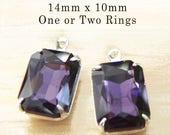 Amethyst Purple Glass Beads - 14x10 Octagon - Rhinestone Earrings or Pendants - Purple Glass Gems - Set Stones - One Pair