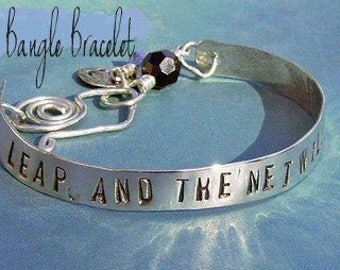Hand Stamped Poetic Bangle Bracelet - Custom Sterling Silver - You choose Name, Word, Phrase, Quote for personalization, Stackable Bracelet
