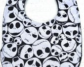 Nightmare Before Christmas Baby Bib - Jack Skellington -  Infant bib - Dribble Bib - Gothic Baby - Baby Shower Gift - Handmade