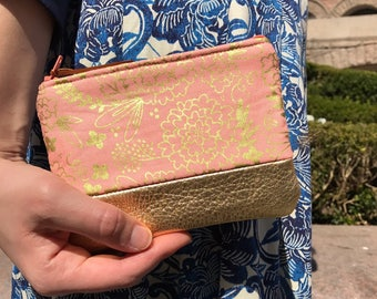 Floral Pink Metallic Gold Leather Coin Purse, Zippered Pouch, Change Purse, Coin Wallet, Coin Pouch