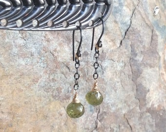 GROSSULAR Green GARNET earrings, mixed metals, silver and gold, green gemstone jewelry, handmade by AngryHairJewelry