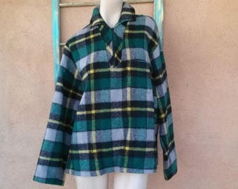 ON SALE Vintage 1950s Wool Shirt Plaid Pullover Surf Mens 44 2012686