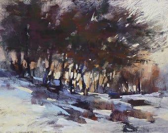 Winter Landscape Contemporary Original Pastel Painting  Karen Margulis