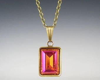 SUMMER SALE Rhinestone Necklace Astral Pink Swarovski Pink Orange Coral Wedding Jewelry Bridesmaid Necklace